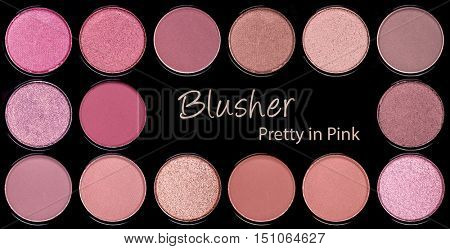 A background palette of blushers in shades of pink