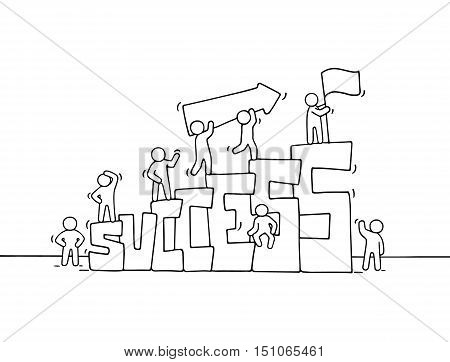 Cartoon working little people with word Success. Doodle cute miniature scene of workers about leadership. Hand drawn cartoon vector illustration for business design.