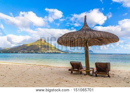 Sandy Beach Of Flic En Flac Mauritius Overlooking Tourelle Du Tamarin