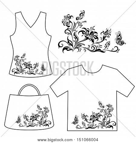 Set Floral Patterns, Symbolical Flowers and Butterflies Black Contour Isolated on White Background, Element for Design, Print and Banner, For the Example Presented in Female Top, Shirt and Bag. Vector