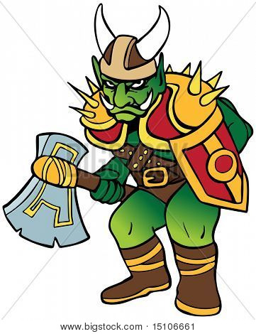 Orc Fighter : Monster warrior with battleaxe and shield also wearing armor and a Viking helmet.