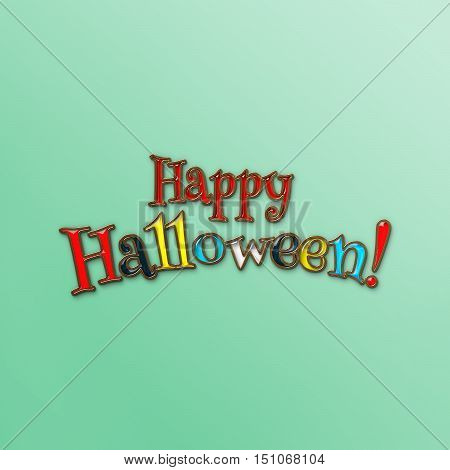 Happy Halloween phrase. Halloween banner with place for your text or pictures. 3d illustration with letters from golden metal and colored glass. Modern style. Design template.