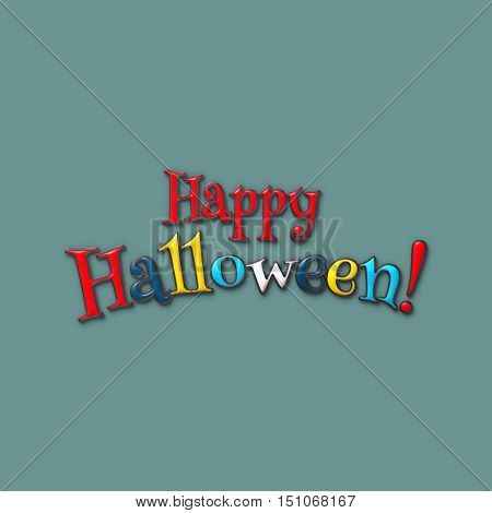 Happy Halloween lettering greeting card. Halloween banner with place for your text or pictures. 3d illustration with letters from colored clay and plasticine. Modern cartoon style. Design template.