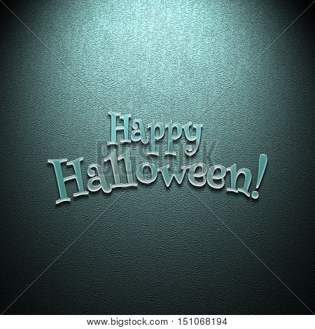 Happy Halloween lettering greeting card. Halloween banner with place for your text or pictures. 3d illustration with volumetric letters from transparent plastic. Modern style. Design template.