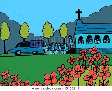 Funeral Blue Day: Cartoon of people carrying a casket out of a hearse and into a crowded church.