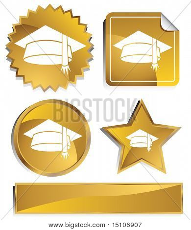 Graduation Cap Icon Set : Gold satin metal buttons in star, starburst, circle and sticker, label shapes.