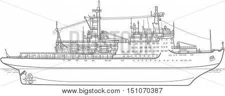plan of the atomic Icebreaker ship. side view
