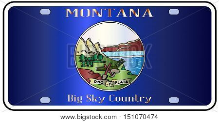 Montana state license plate in the colors of the state flag with the flag icons over a white background