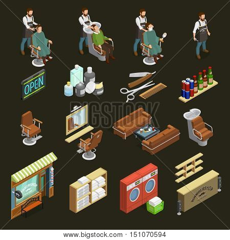 Barber isometric icons set with equipment and cosmetics symbols on dark green background isolated vector illustration