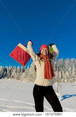 Winter Fashion Shopping Girl