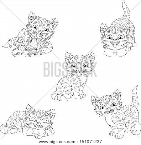 Set kitten on a white background, Coloring Page