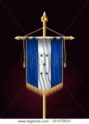 Flag Of Honduras. Festive Banner Vertical Flag With Flagpole