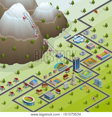 Sport village buildings and accommodations for participating in games athletes isometric layout birds eye view poster vector illustration