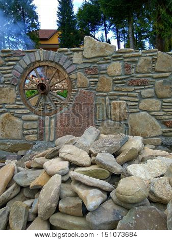 beautiful stone wall lined with natural stone