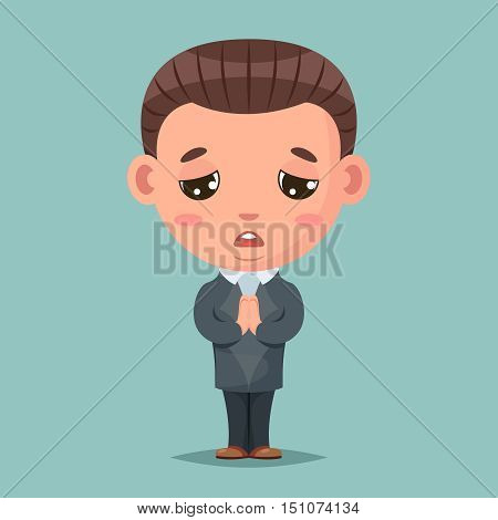 Convince agree pray ask businessman mascot condolences compassion cartoon vector illustration