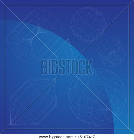 3D Primitive Shapes Blue : Wire frame object background.