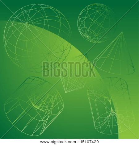 3D Primitive Shapes Green : Wire frame object background.