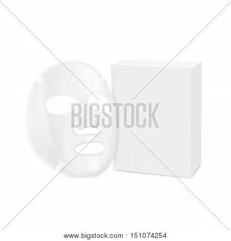 Facial sheet mask in side view and box isolated