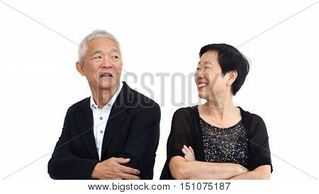 Asian Senior Couple Partner Dress In Formal Attire. Beautiful And Handsome Cool Old People.