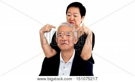 Asian Senior Grandparent Together. Love, Forgive And Understanding Concept
