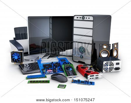 Computer and many parts (done in 3d rendering)