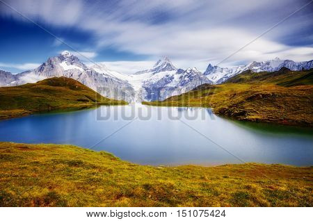 Panorama of Mt. Schreckhorn and Wetterhorn above Bachalpsee lake. Dramatic and picturesque scene. Popular tourist attraction. Location Swiss alps, Bernese Oberland, Grindelwald, Europe. Beauty world.