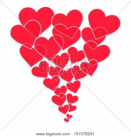 red hearts of different sizes fly away