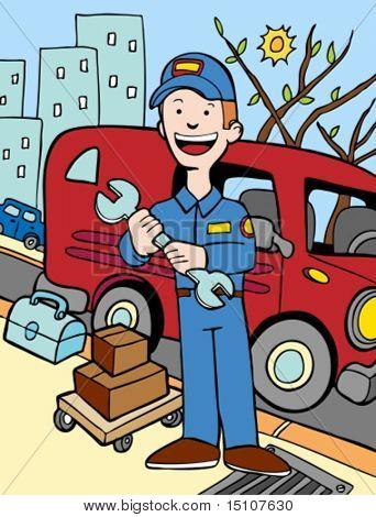 mechanic, repairman, wrench, box, van, truck, uniform, plumber, cartoon, icon, illustration, graphic, drawing, man