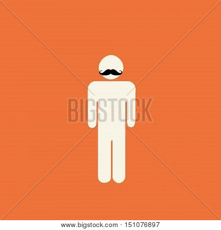 Movember prostate cancer awareness - stick figure with mustache on orange background.