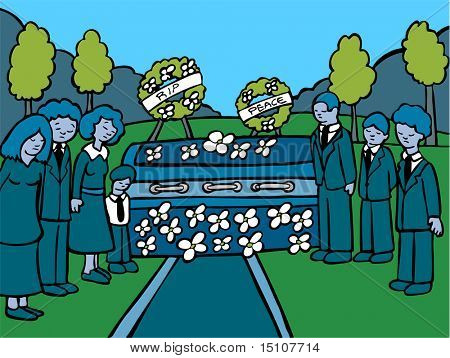 Funeral Ceremony Blue Day : Mourners gather by the funeral casket decorated with flowers at a cemetery.