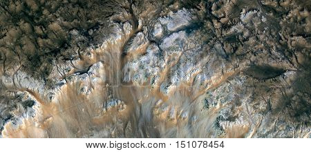 Outcropping on the seabed, in the African desert mirage from the air, abstract surreal photograph of the deserts of Africa bird's eye view, white textures, ocher and dark brown, branches in plant form