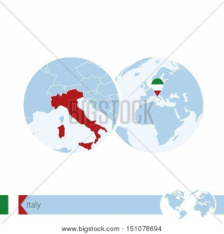 Italy On World Globe With Flag And Regional Map Of Italy.