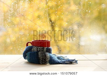 red circle in the cozy warm scarf on the background of a wet window after the rain / autumn warming atmosphere