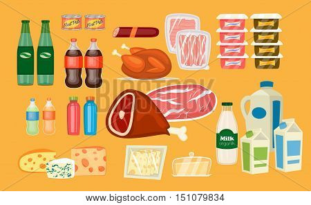 Daily food products icons. Beverage icon, sausage, poultry, bacon, yogurt, juice, meat, milk, sliced cheese, butter vector illustrations set. Everyday food icon and dairy icon. For diet and healthy nutrition concept, grocery store ad design. Food icons.