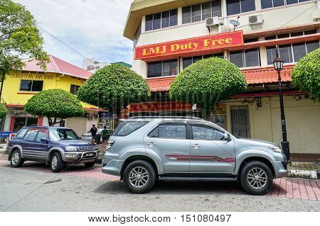 Labuan,Malaysia Oct 10,2016:Vehicles in the Labuan street.Government will implement of the bank guarantee rule to be imposed on each duty free vehicles in this island due to losses unpaid taxes.