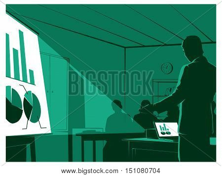 businessman presenting to his audiences. vector illustration