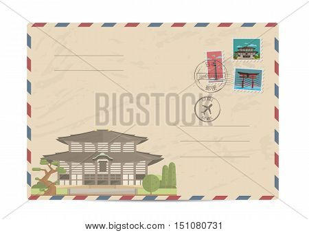 Japan vintage postal envelope with postage stamps and postmark vector illustration. Japanese ancient temple.  Japanese air mail stamp. Japanese postal services. Envelope delivery. Gift envelope. Souvenir of trip. Travel souvenir. Envelope layout.