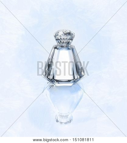 Perfume in a glass bottle on a frosty silvery background. 3D illustration