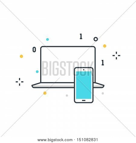 Color Line, Computer And Mobile Device Concept Icon