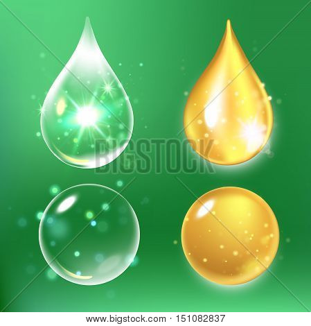 Vector illustration of Set of Collagen Serum and Vitamin drops.