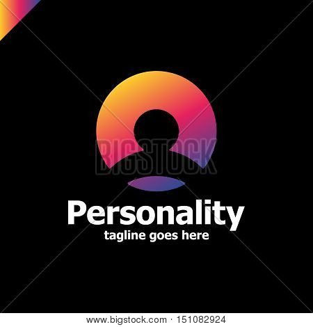 Social Personality Network Logo Template. Man Accaunt Corporate Branding Identity. Man Silhouette In