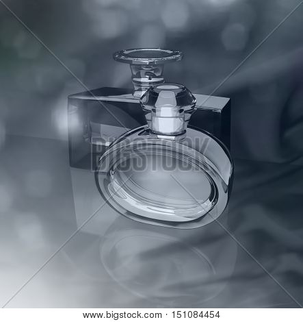 Perfume bottles on a gray background. 3D illustration