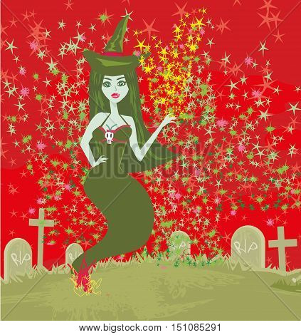 ghostly figure and cemetery , vector illustration