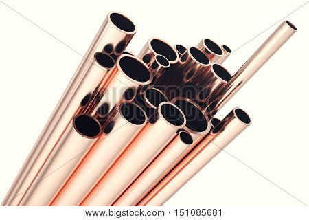 Copper pipes isolated on white. 3d rendering.