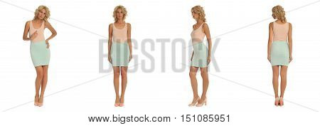 Fashion Model Dressed In Tight Skirt Isolated On White