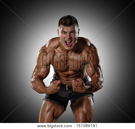 Muscular man in a state of aggression