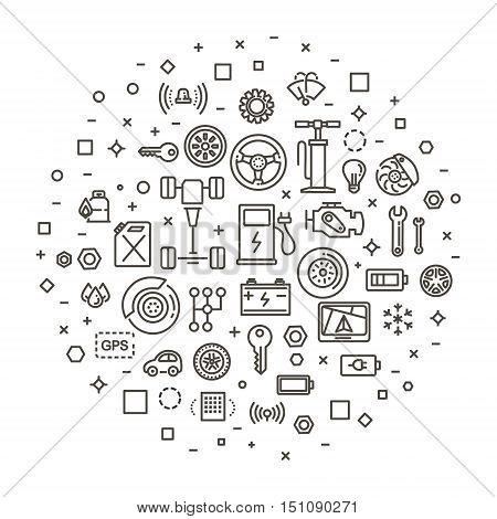 Auto repair service vector outline symbols. Vector line illustration