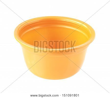 Plastic Cup no cover orange color isolated on white background