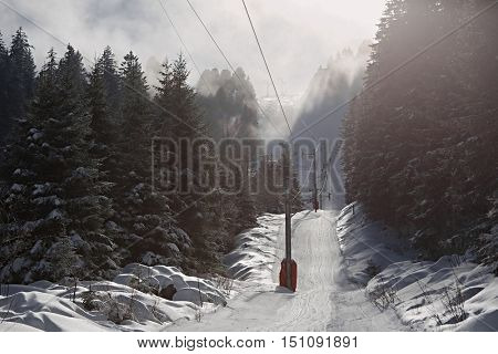 Ski slope in cold weather