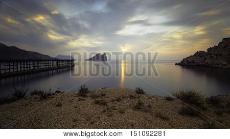 long exposure photography, Bay of Hornillo at Aguilas, Murcia on the Costa Calida with its 19th century pier